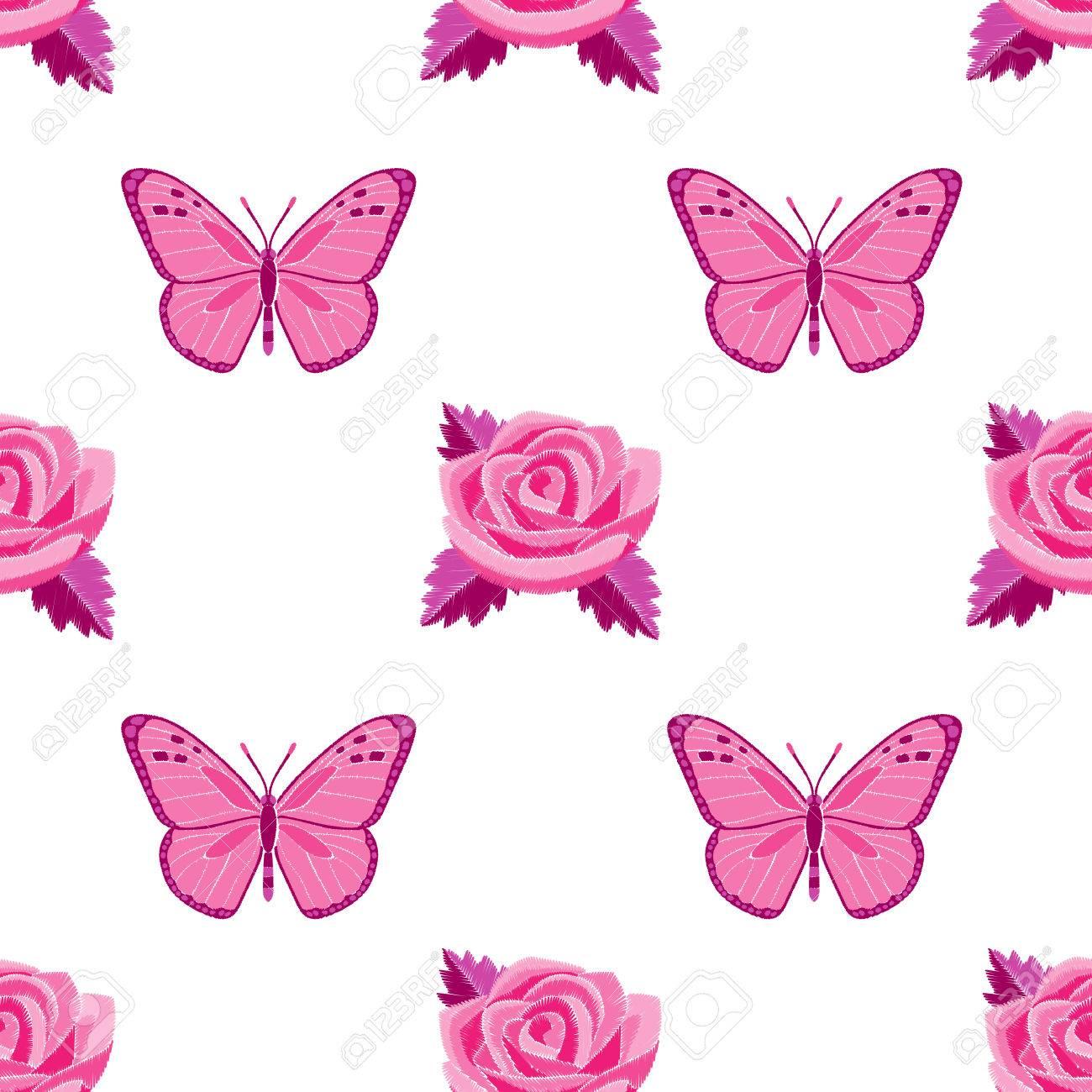 Rosas Y Mariposas Bordado Sin Patrón Ilustraciones Vectoriales, Clip ...