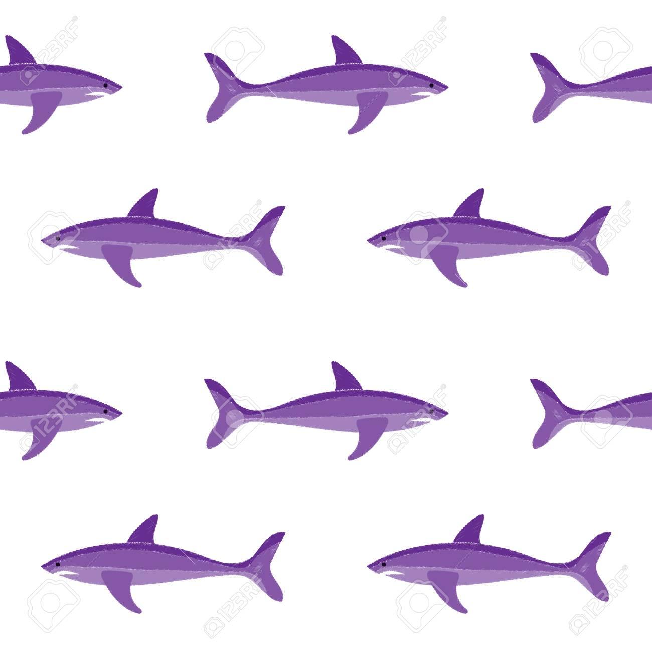 Tiburón Bordado De Patrones Sin Fisuras En El Fondo Blanco. Papel ...