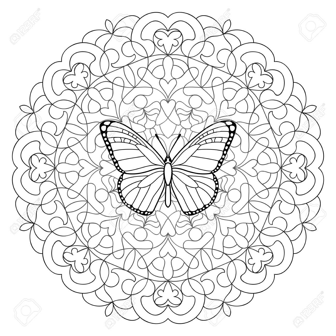 Página Para Colorear De Mariposa Mandala Ilustraciones Vectoriales
