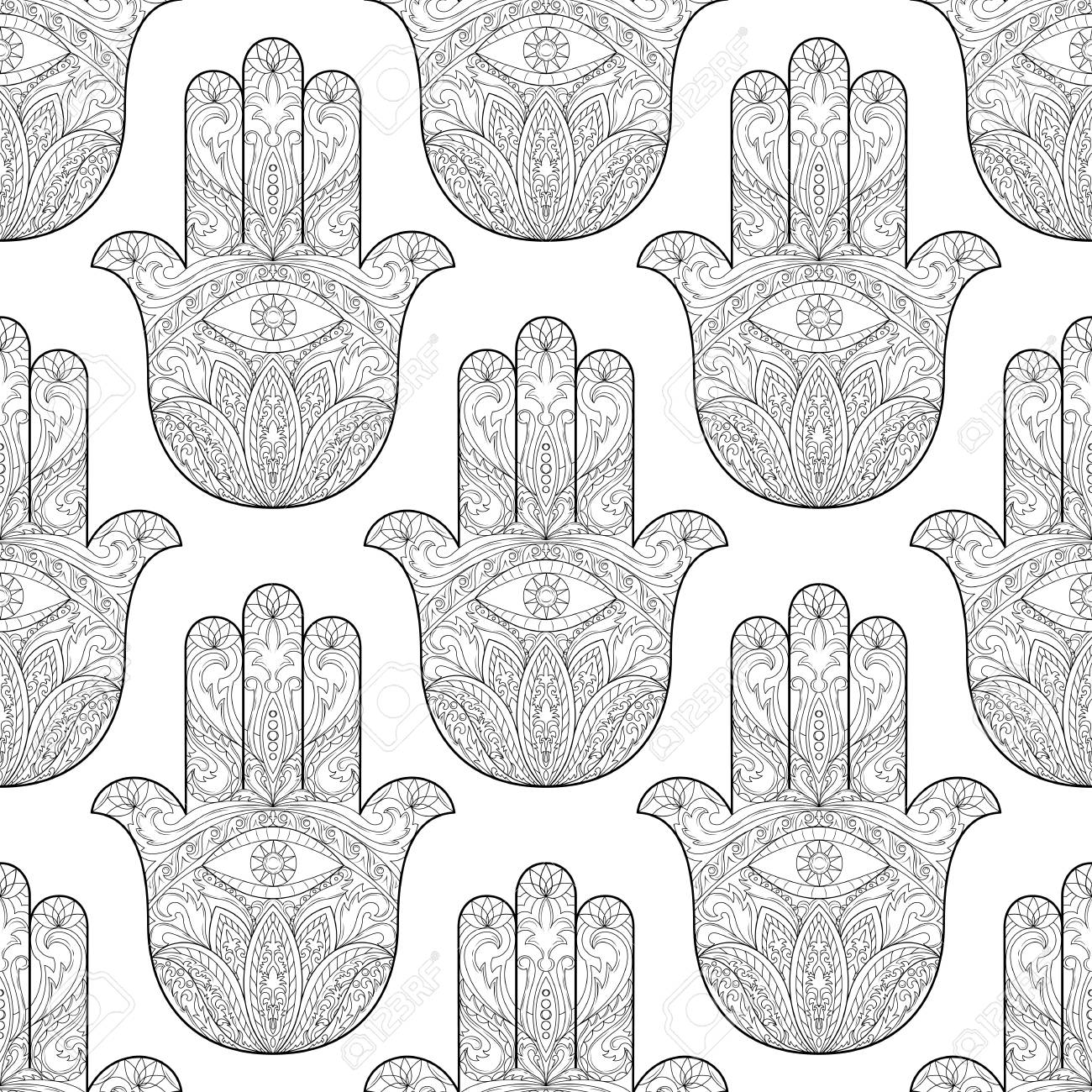 Ornate Hand Drawn Hamsa Seamless Pattern Of Fatima Arabic Indian And Jewish