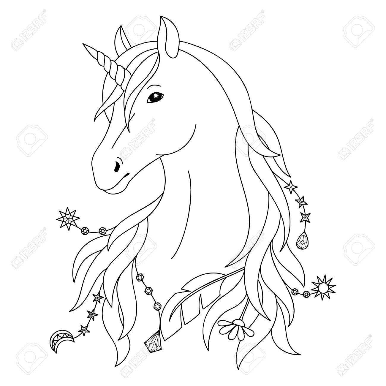 Unicorn black and white coloring page stock vector 89021892