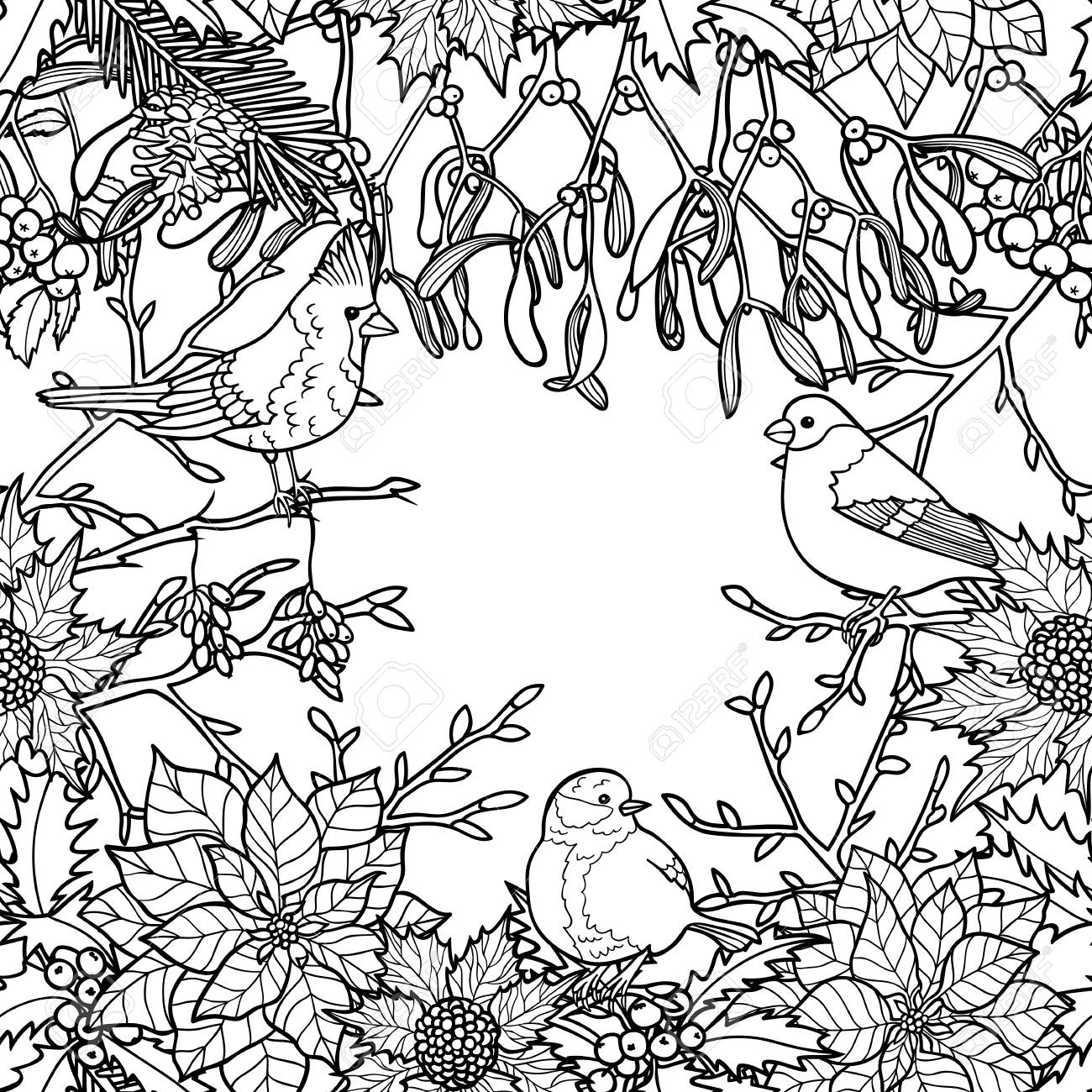 Winter Plants With Birds Seamless Pattern Nature Black And White