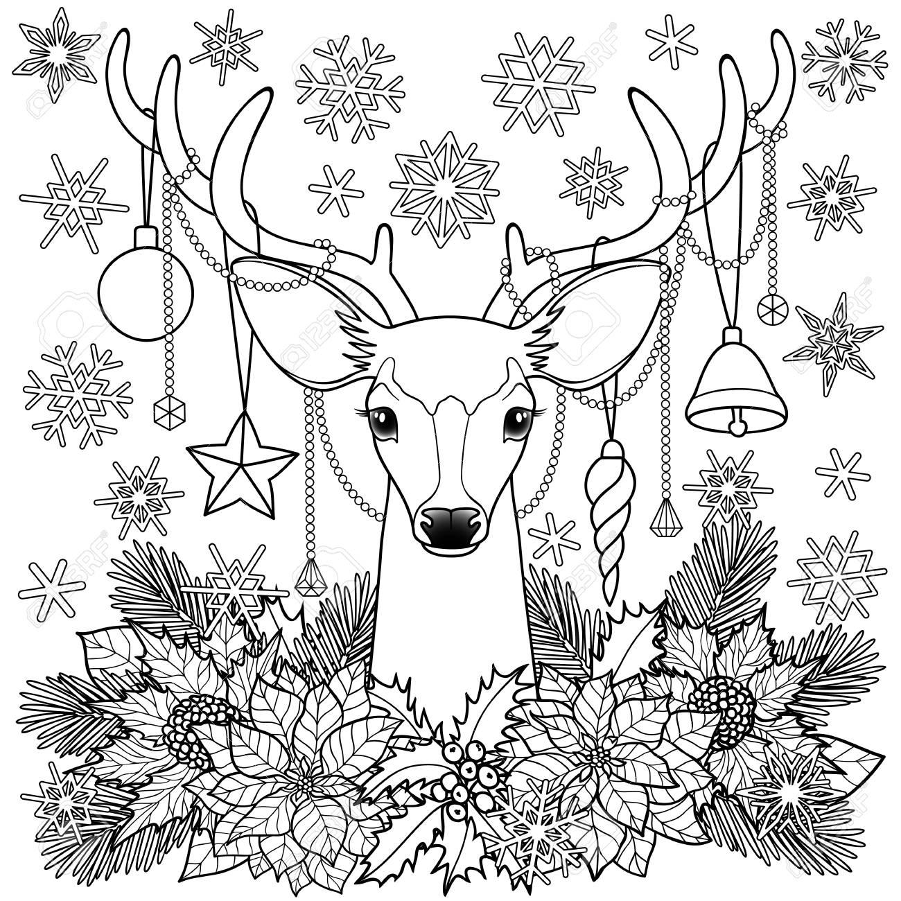 Ciervos De Navidad Con La Composición De Objetos. Invierno Cuadrado ...