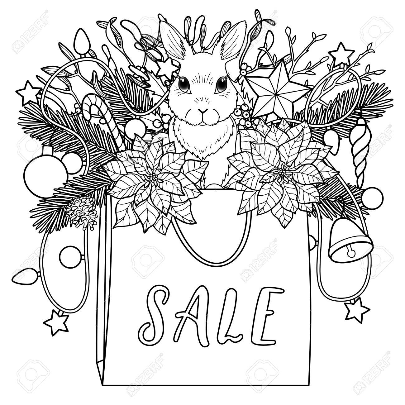 Composición Para Colorear De Venta De Invierno Patrón Cuadrado Blanco Y Negro Con Bolsa Conejo Y Objeto De Año Nuevo Para Carteles Páginas Para