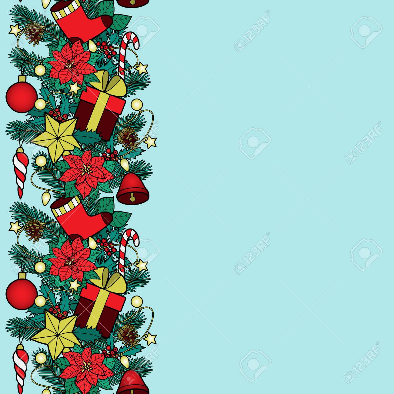 christmas and new year vertical border vector illustration stock vector 91371446