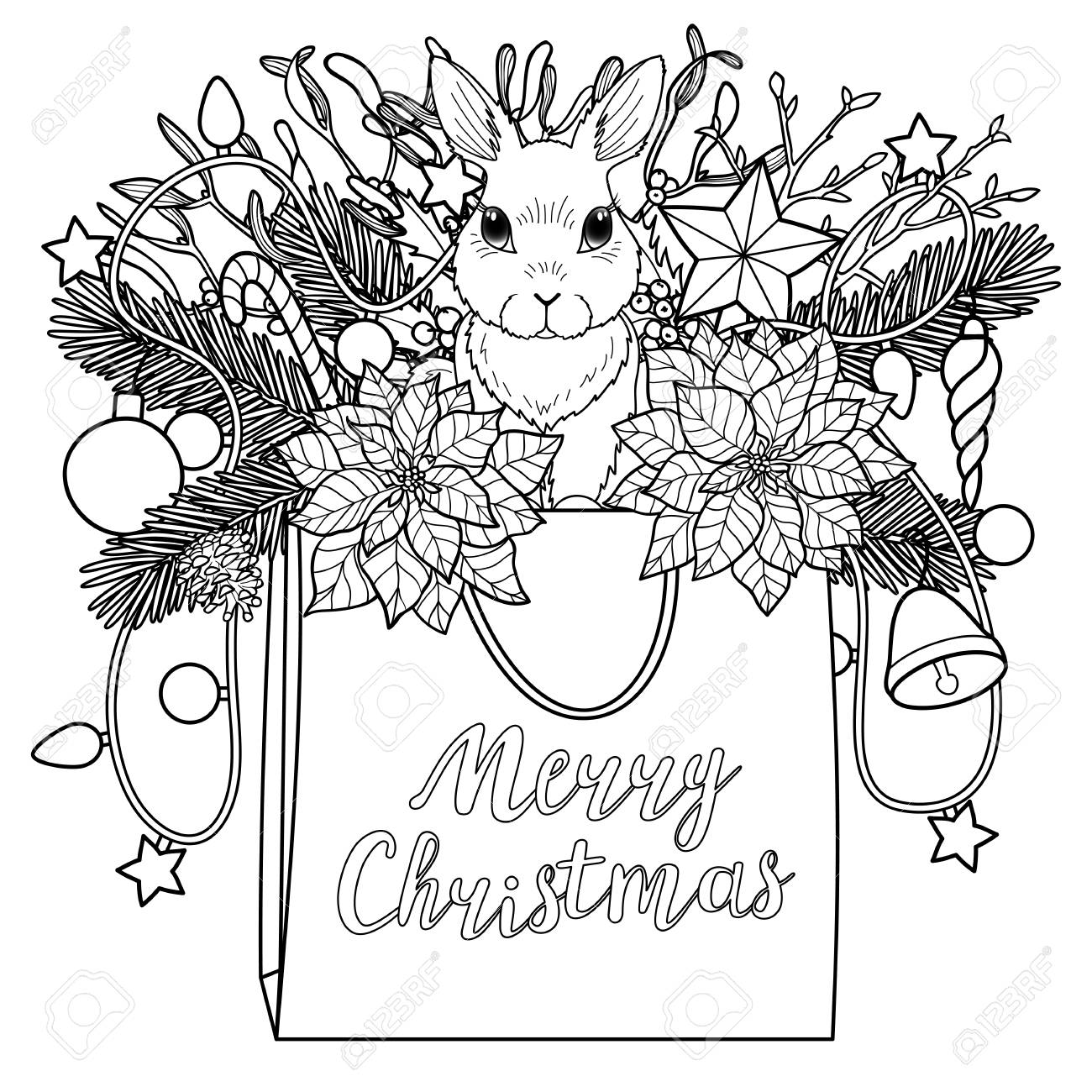 merry christmas coloring greeting composition square black and white pattern with bag rabbit and