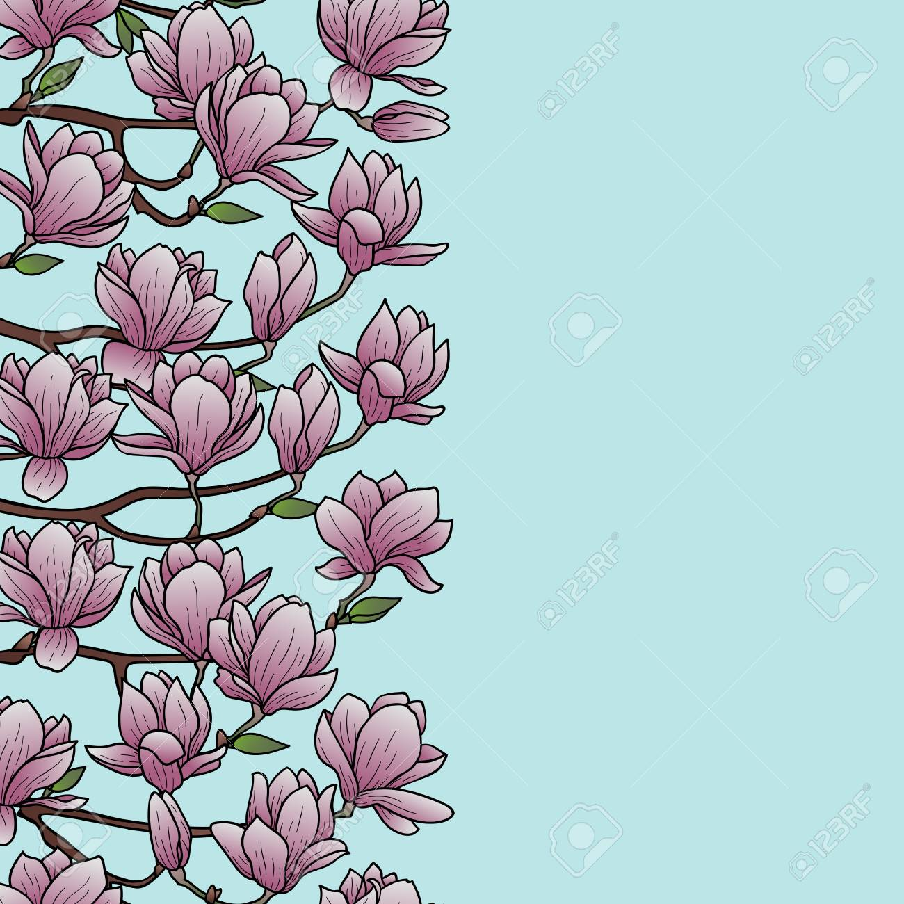 Magnolia Outline Seamless Border Floral Romantic Wallpaper For