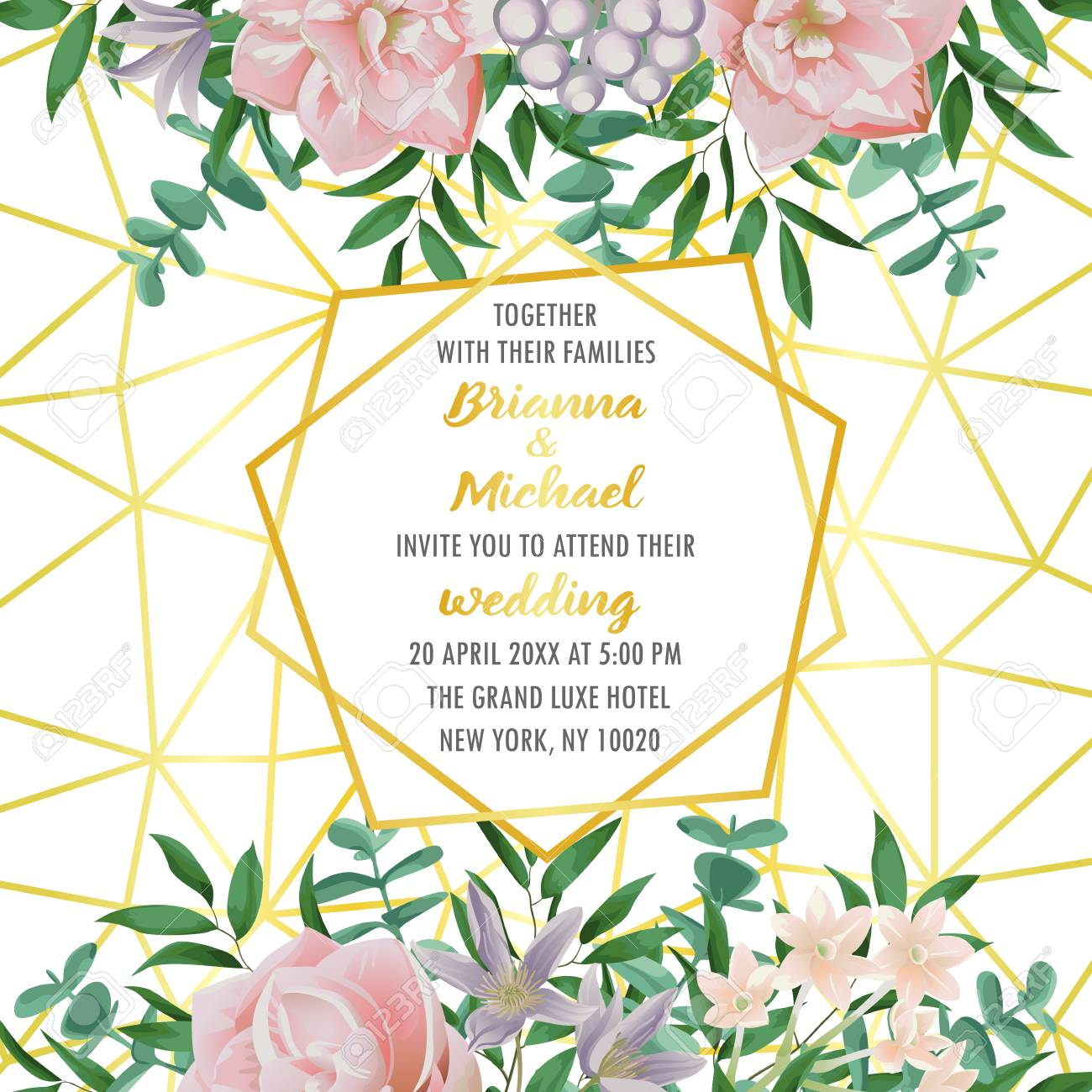 Floral Wedding Invitation With Gold Geometric Frame Flowers