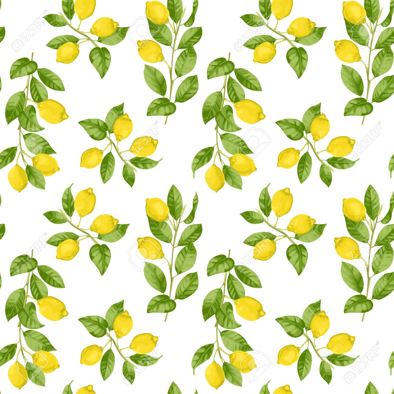 Lemon Brunches Seamless Pattern In Watercolor Style Isolated