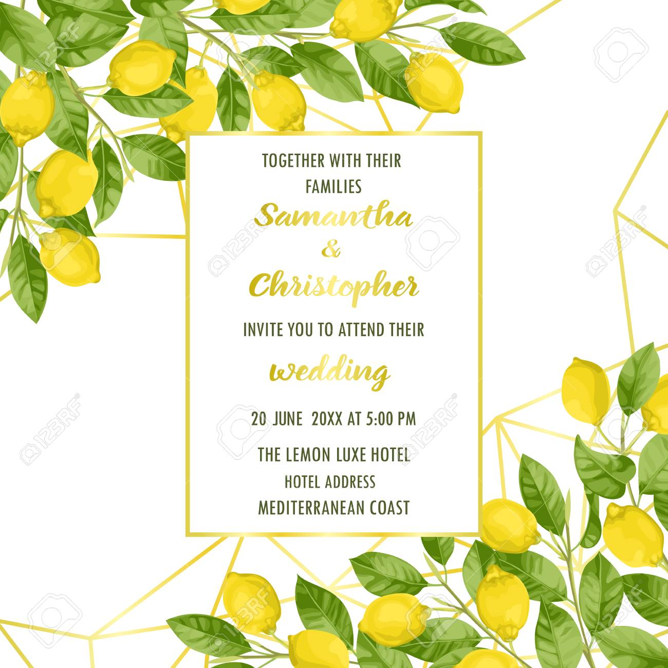 Wedding Invitation Card With Lemon Brunches In Watercolor Style