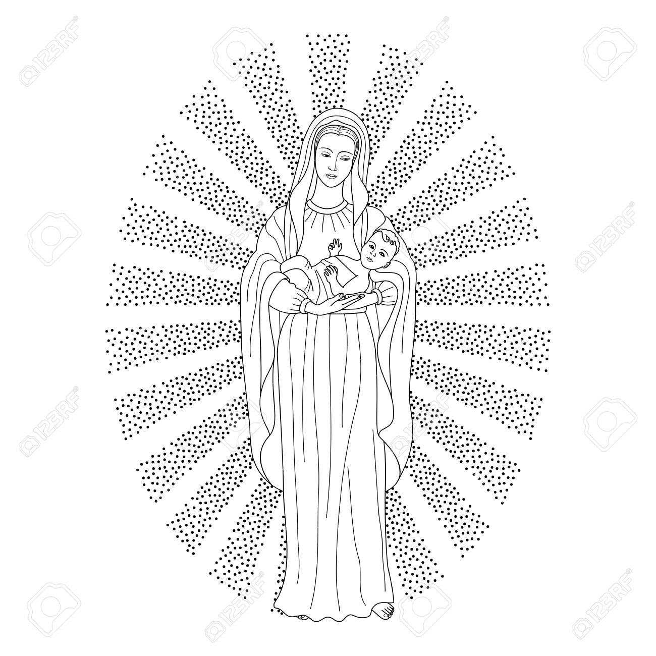 saint virgin mary holding baby jesus christ christmas vector pattern textile print coloring
