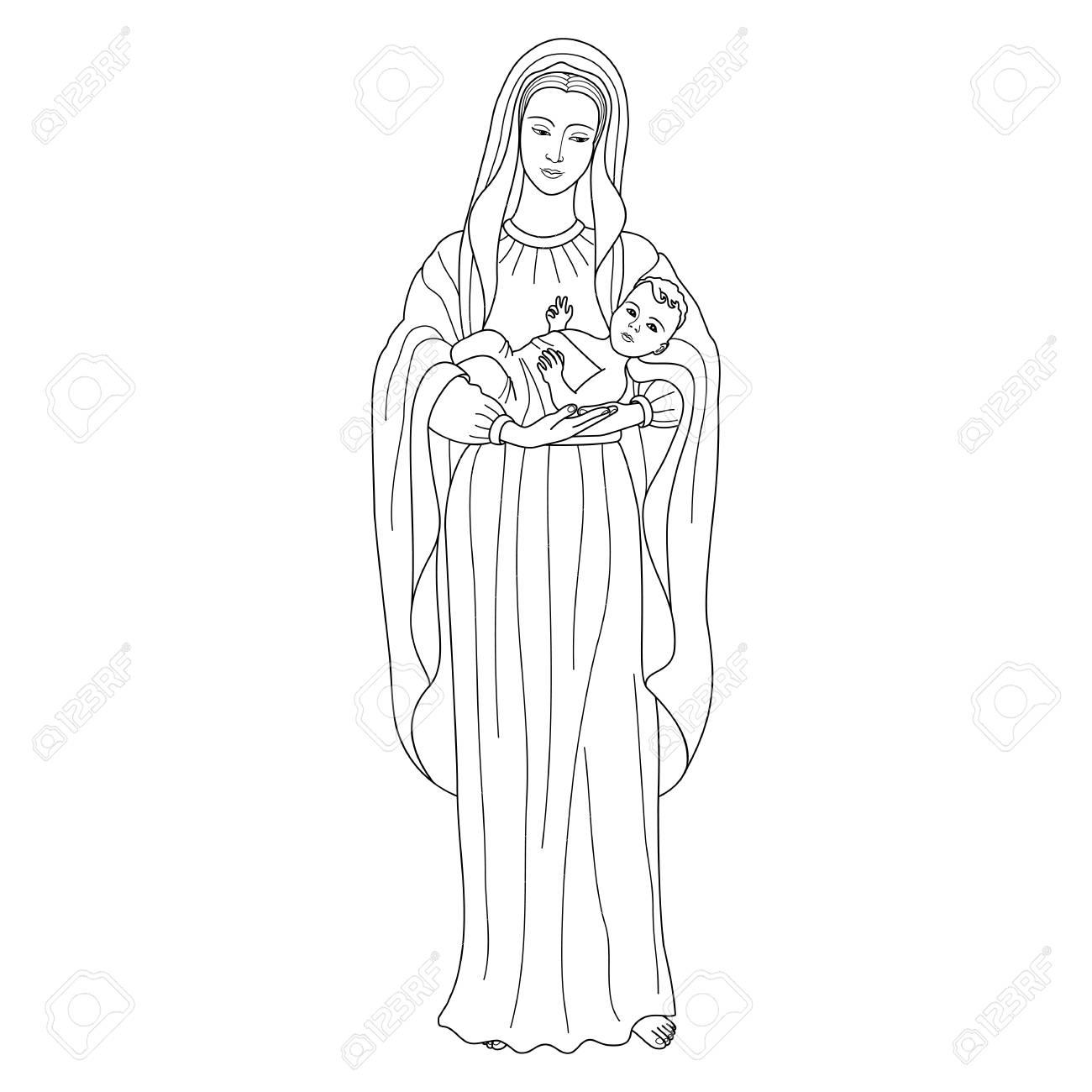 Saint virgin Mary holding baby Jesus Christ. Christmas vector..