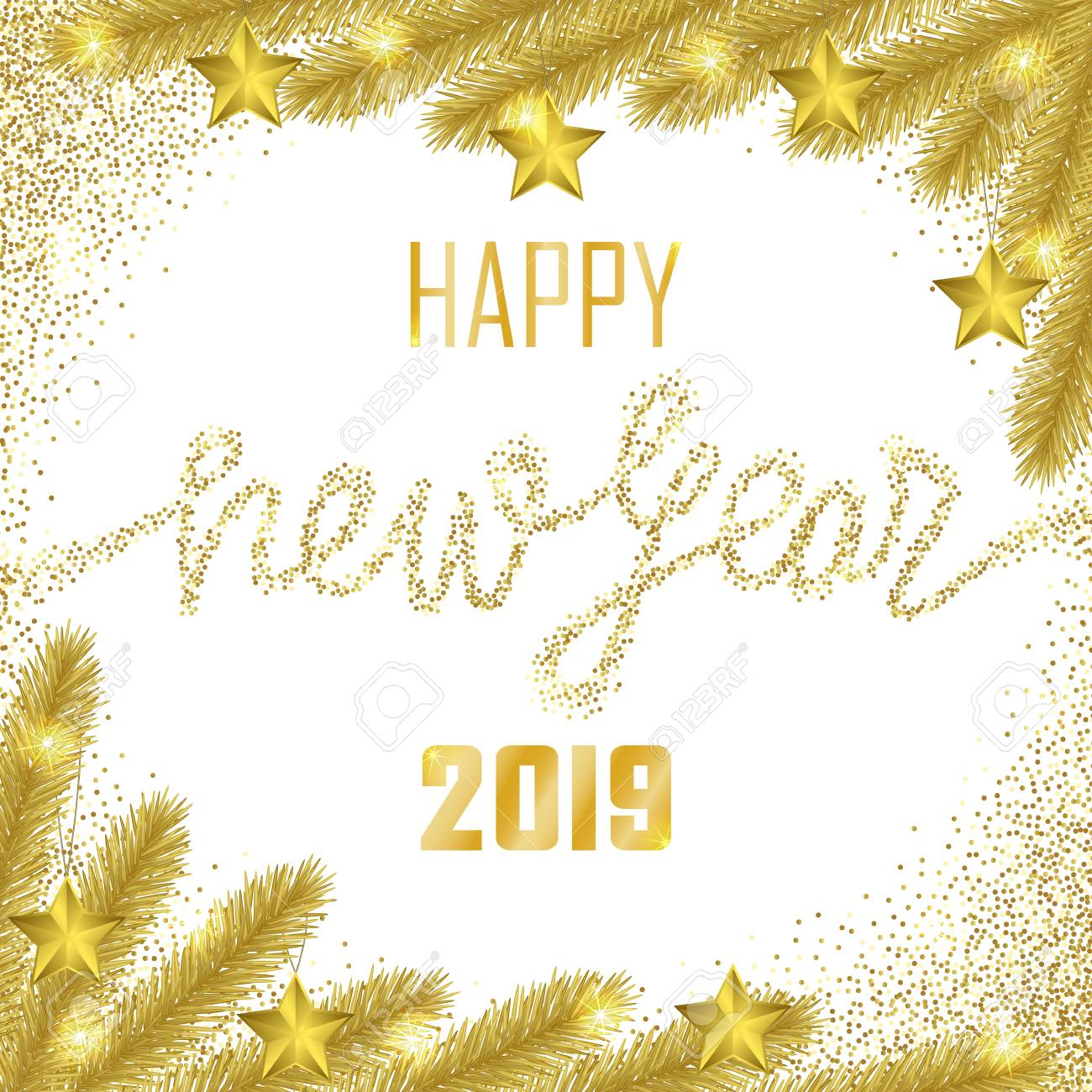 Happy New Year 2019 Golden Greeting Card On White Background