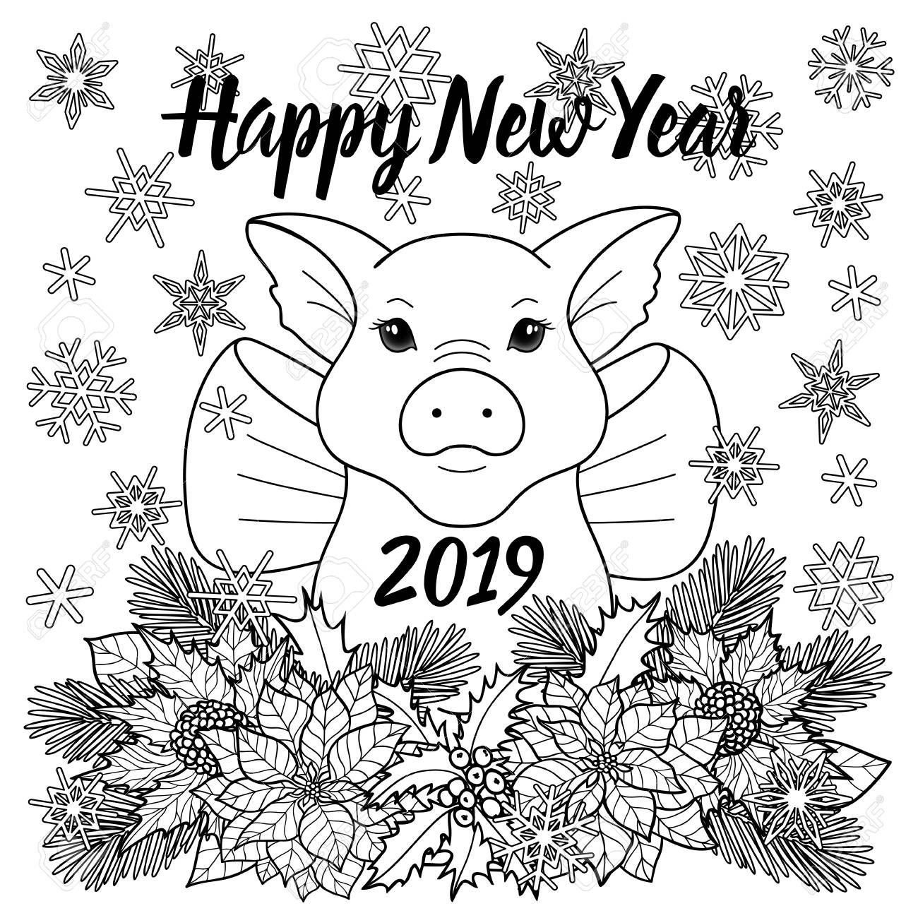 Happy new year greeting card with pig symbol 2019 winter black and white square template