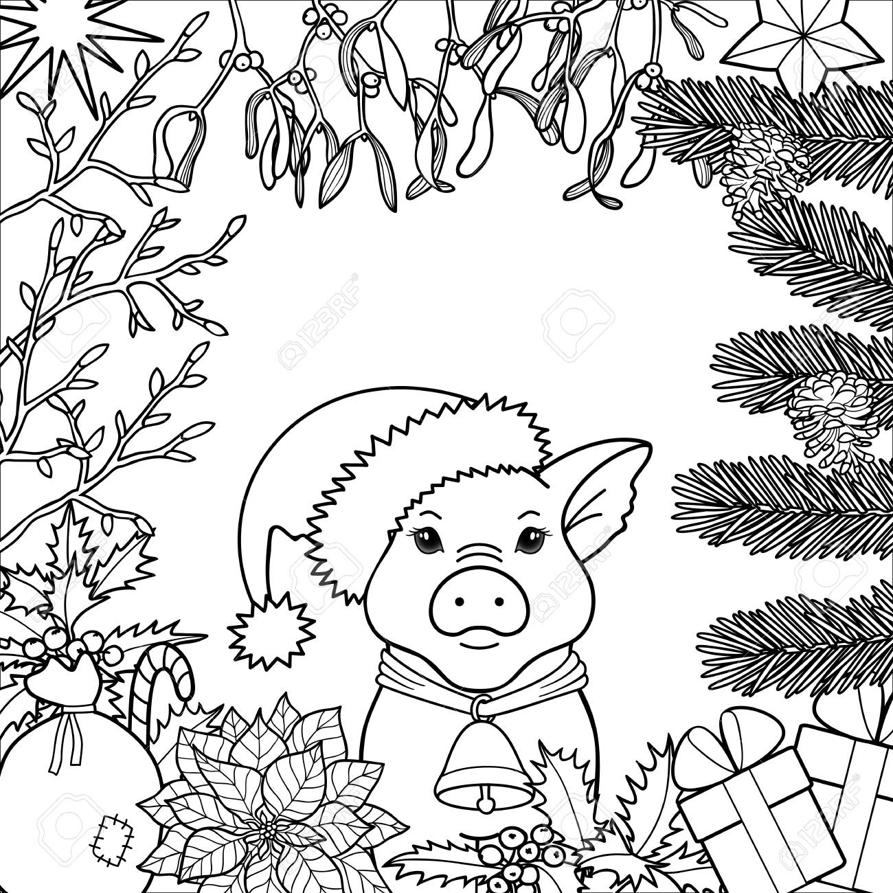 Winter Holiday Coloring Page With Pig Symbol 2019. Black And ...