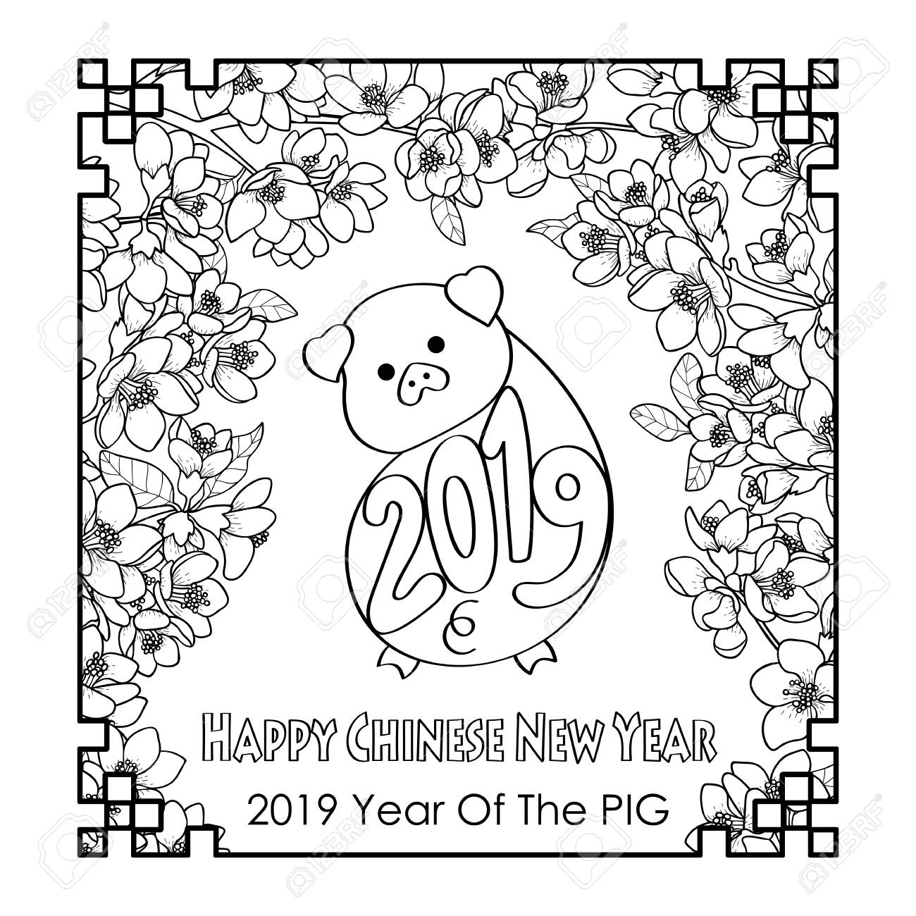 Happy Chinese New Year 2019 Card With Pig Royalty Free Cliparts