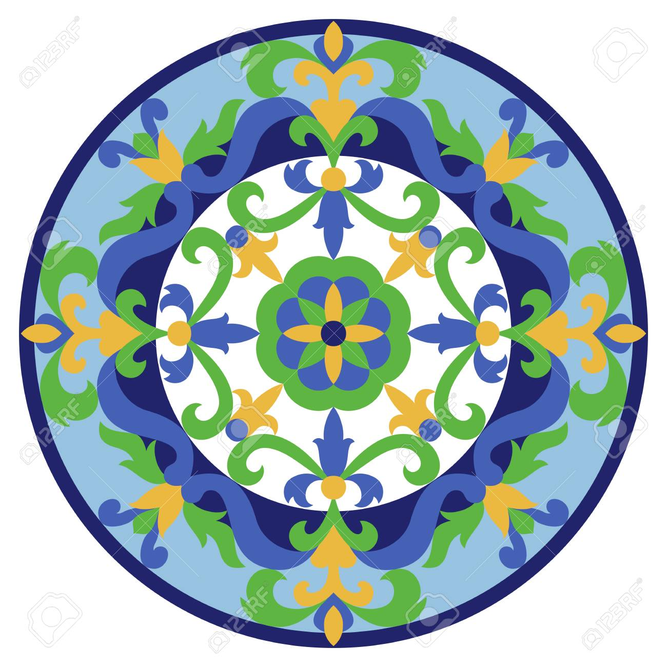 Vector mosaic classic medallion. Abstract floral round majolica composition for interior decoration, ceramic tile, textile prints. - 126871140