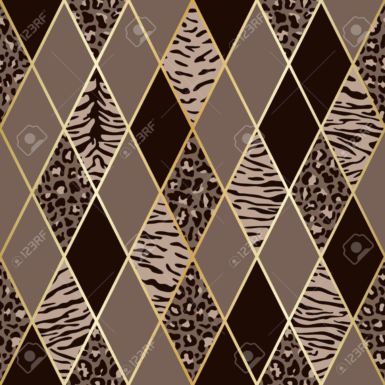 Vector leopard and tiger seamless pattern with golden geometric diagonal lines. Brown and beige rhombus and animal surface, modern luxurious background, luxury wallpaper, textile print. - 117507766