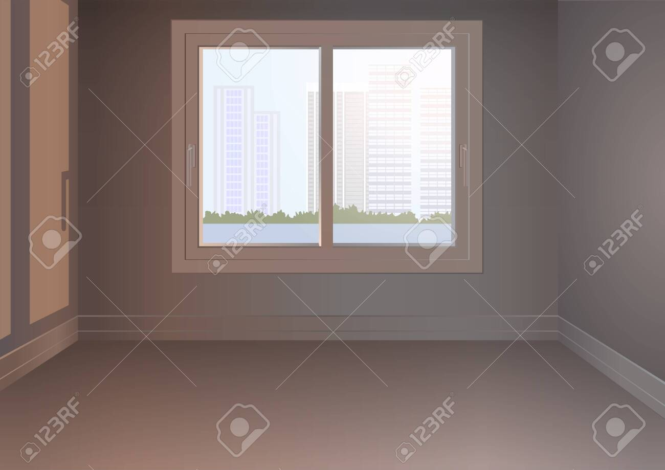 An empty room with a window and an urban landscape - 147680047