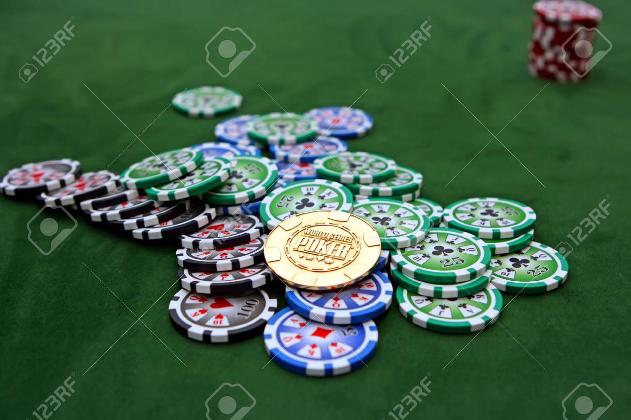 Poker table with chips Stock Photo - 4457193