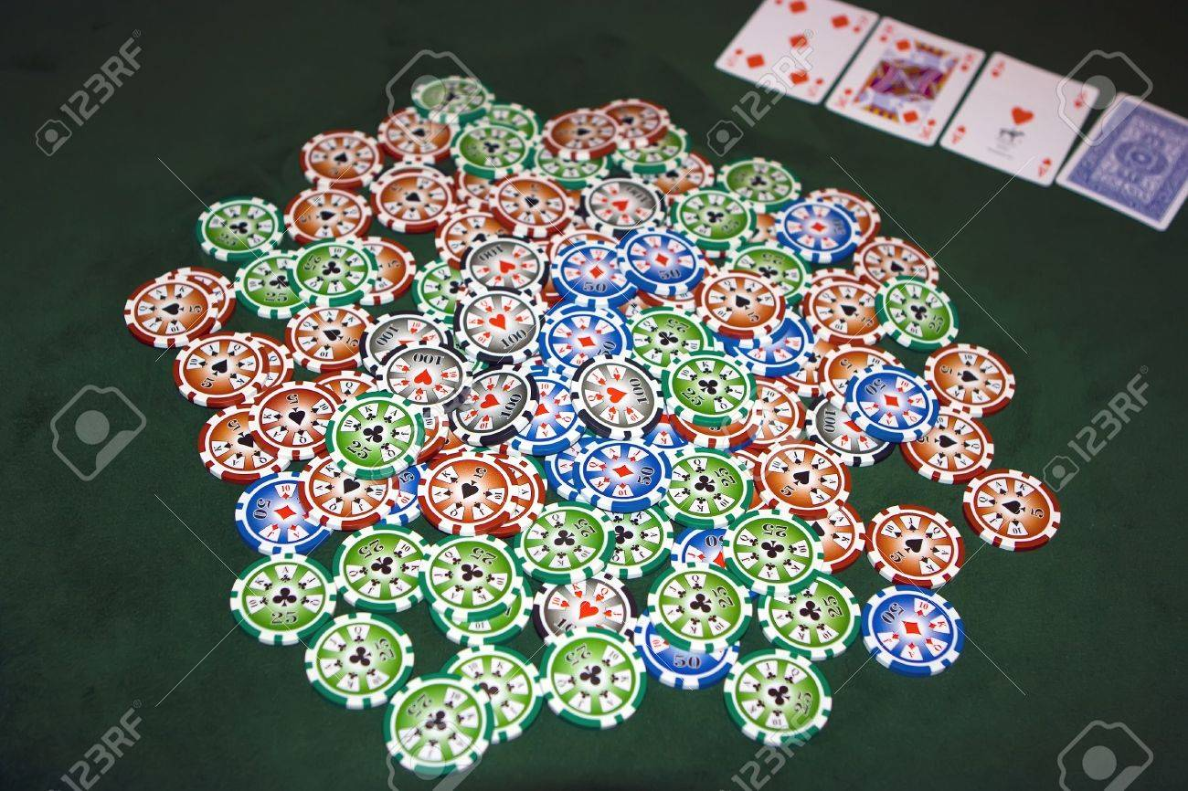 Poker table with chips Stock Photo - 4457155