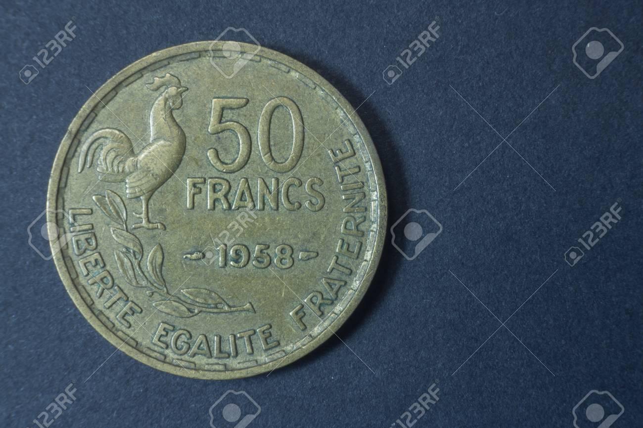 Fünfzig Franc 1958 Seltene Frankreich Schwanz Münze Vintage Antik