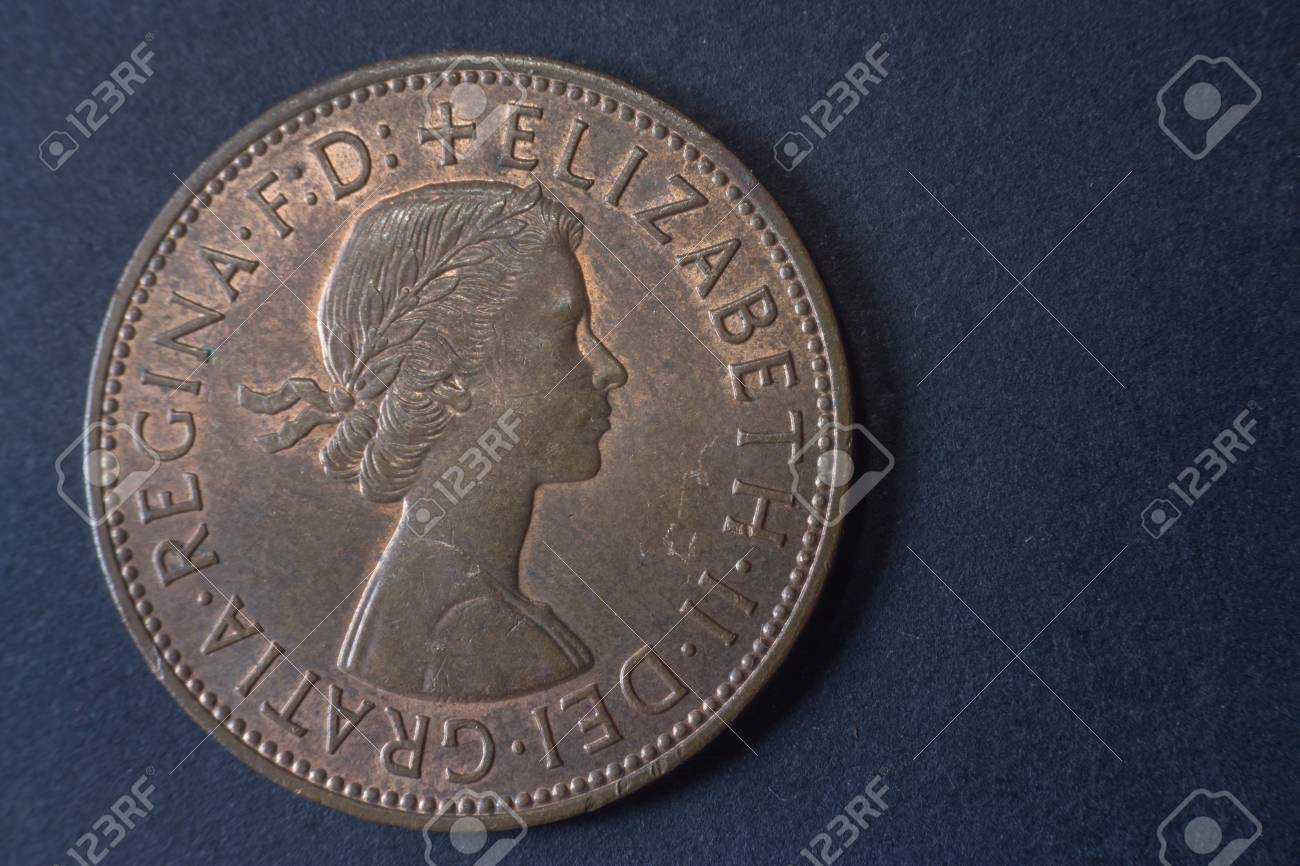 One penny Britain England 1962 head coin, vintage old, difficult