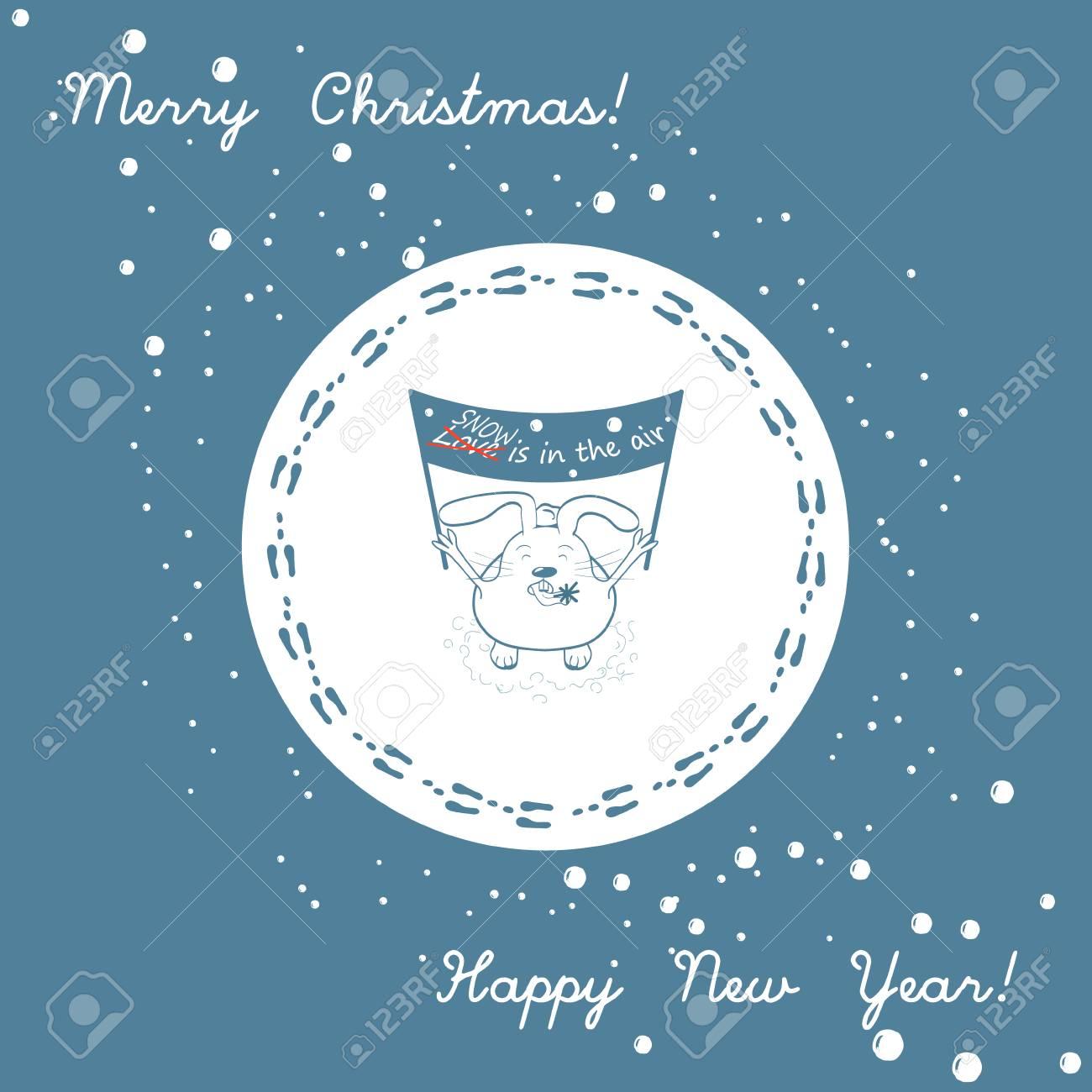 Coniglietto Divertente Con Uno Striscione La Neve è Nellaria E Fiocco Di Neve Sulla Lingua Buon Natale E Felice Anno Nuovo Biglietto Di Auguri