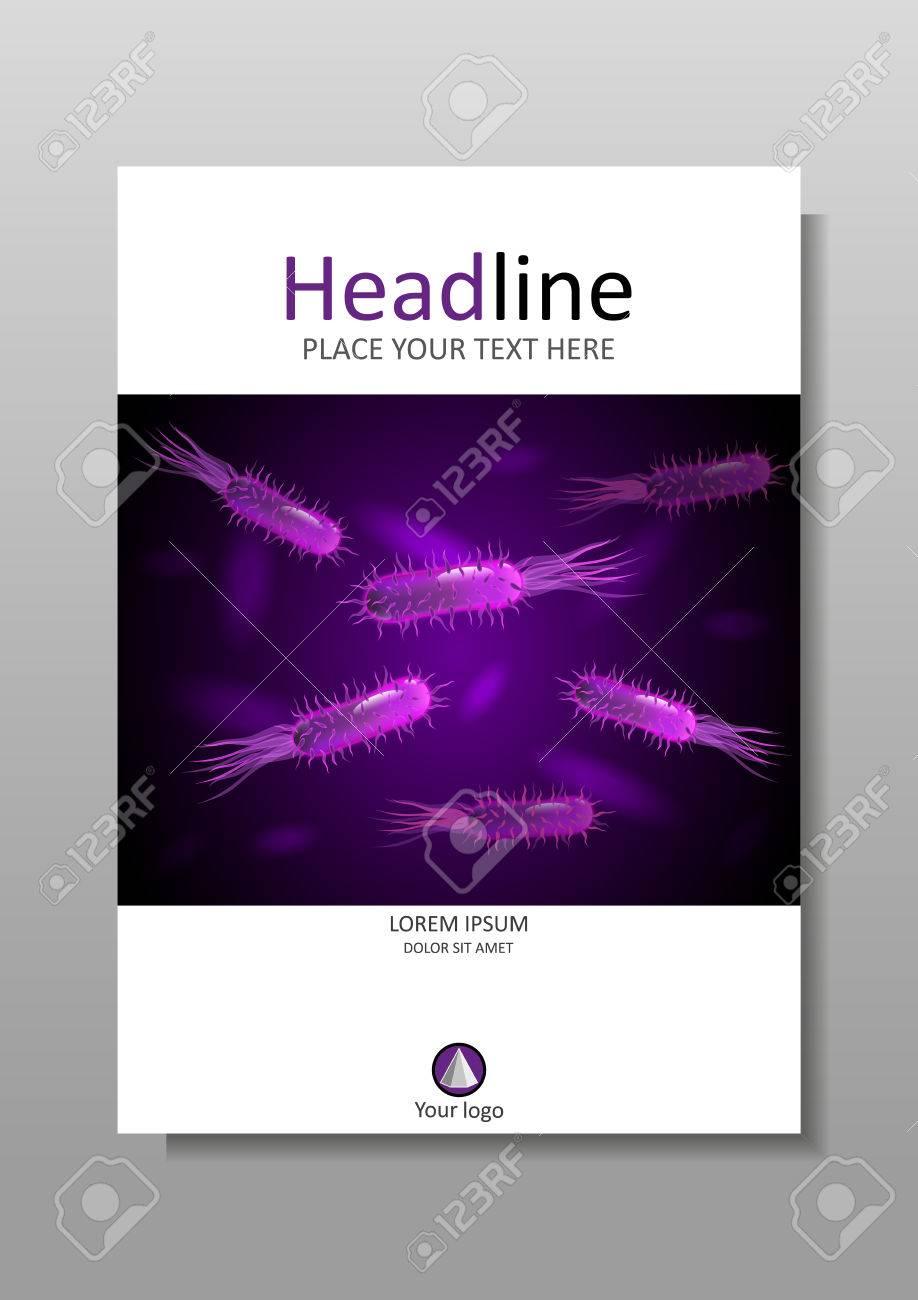 Diseño De La Portada Del Libro A4 Con Las Bacterias En La ...
