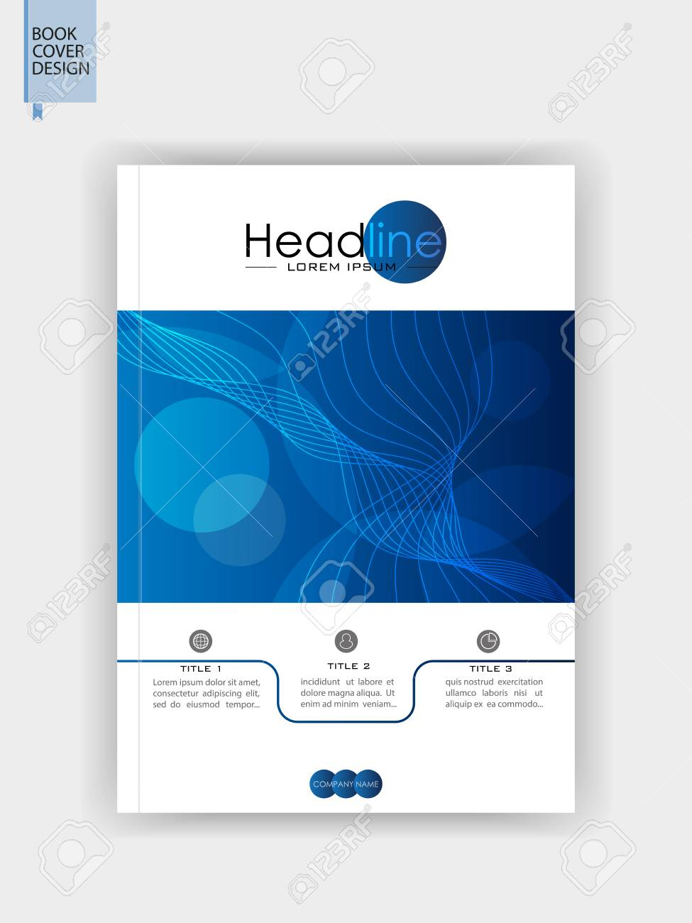 book cover design in a4 blue brochure template banner flyer journal