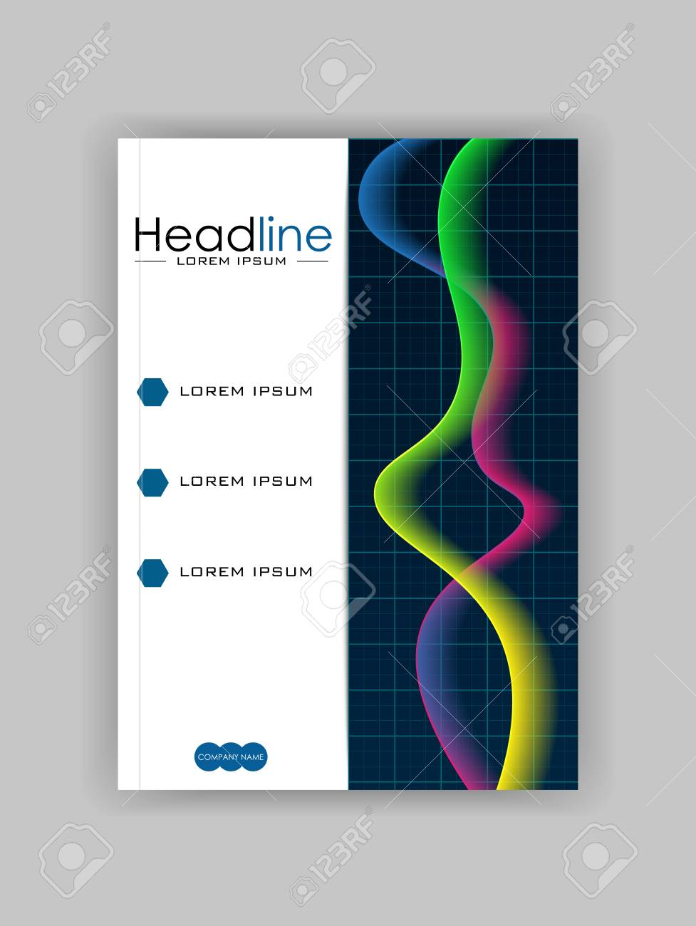 Glowing diagram book cover design with colourful waves good glowing diagram book cover design with colourful waves good for annual report conference ccuart Gallery