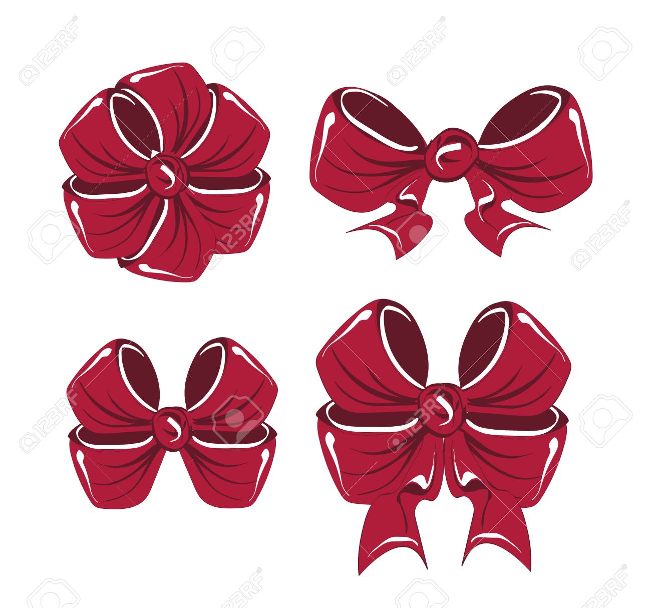 Colorful Christmas gift bows set with ribbons. Vector Stock Vector - 89112038  sc 1 st  123RF.com & Colorful Christmas Gift Bows Set With Ribbons. Vector Royalty Free ...