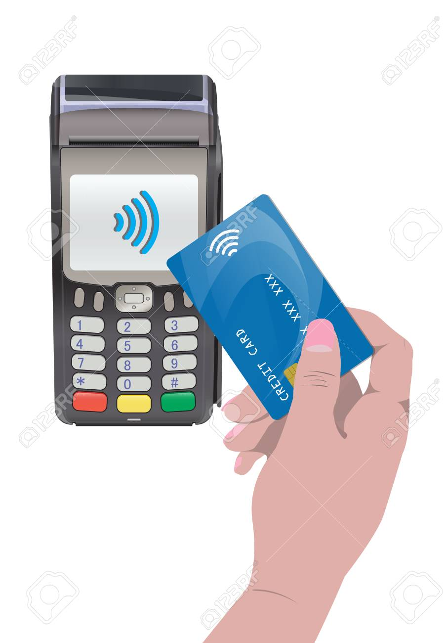 POS Terminal with hand and credit card. Contactless payment,..