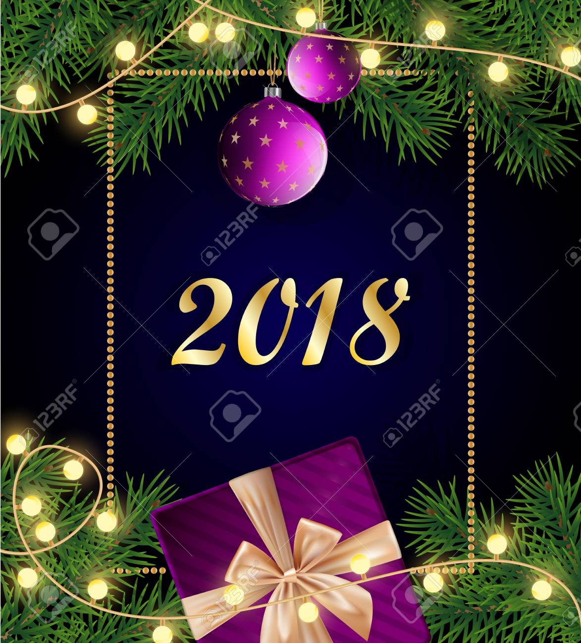 Merry Christmas Poster 2018.Merry Christmas And Happy 2018 New Year Background With Frame