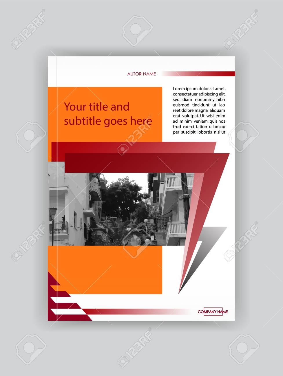 Red Orange Cover Design Broschüre Vorlage, Buch, Magazin, Banner ...