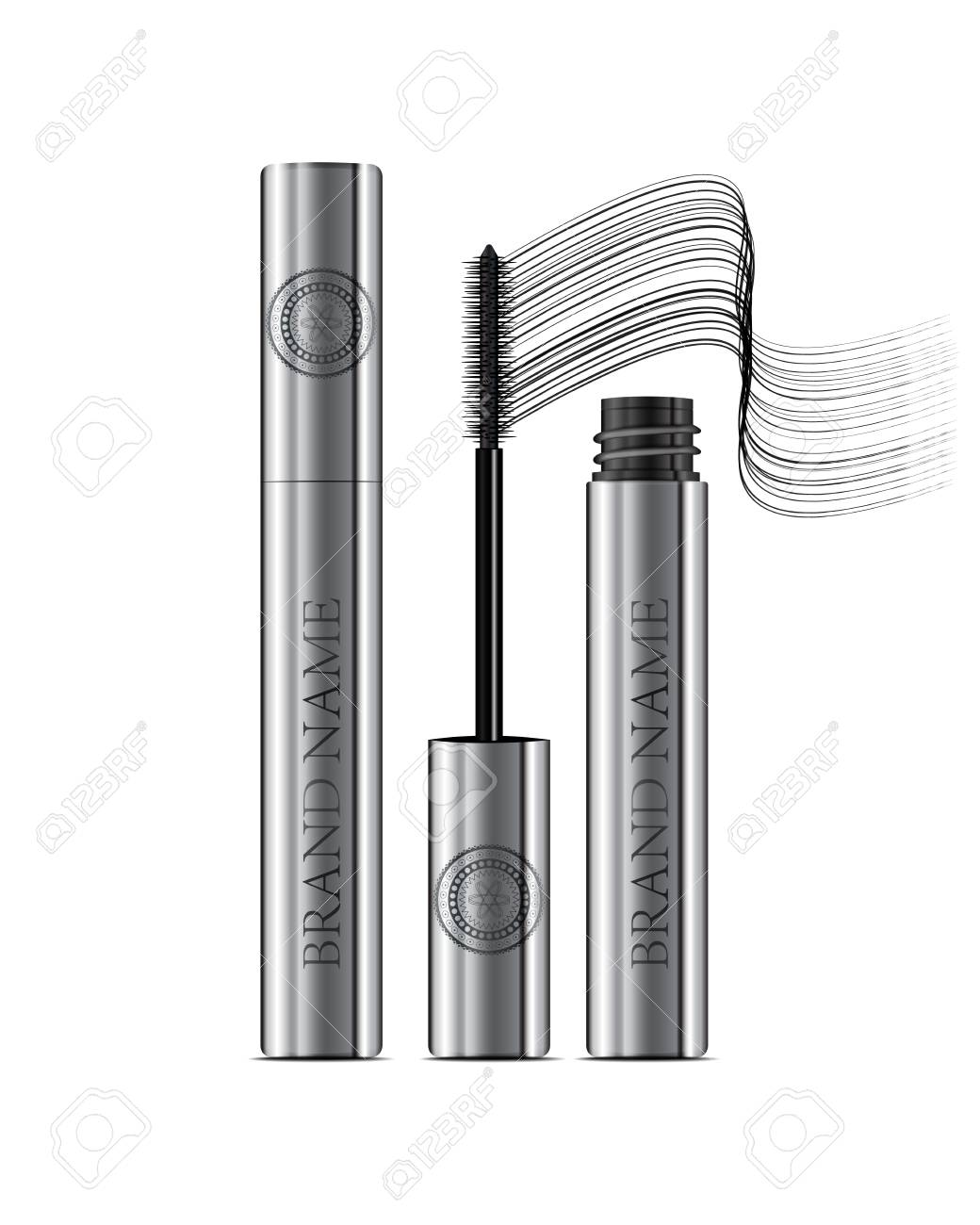 Mascara Tube A ApplicatorCosmetic Silver And Wand Bottle uTlcFK1J3