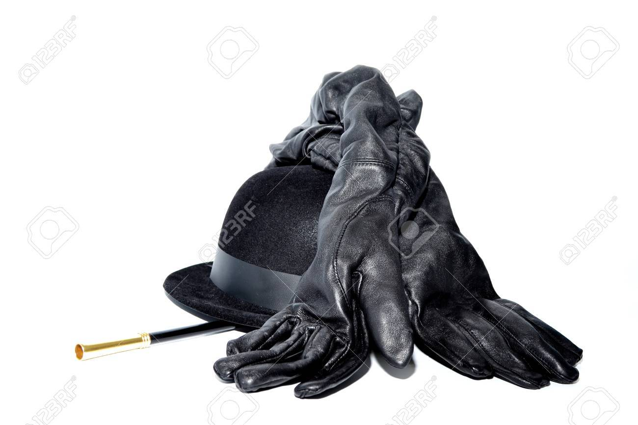 Black gloves white magic - Black Gloves Magic Wand And Bowler Hat Isolated On White Stock Photo 11056915