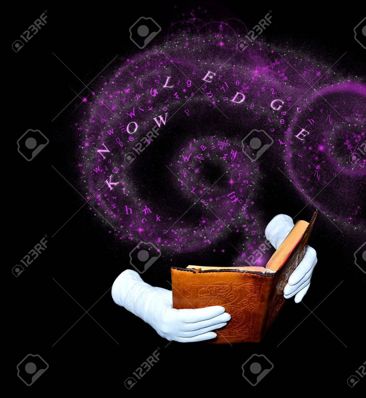 Magic book in leather-bound held by hands in white gloves Stock Photo - 13581792
