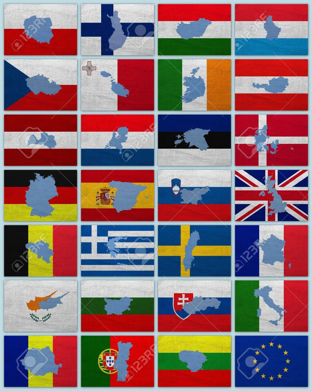 Flags And Maps Of European Union Countries On A Sackcloth Stock