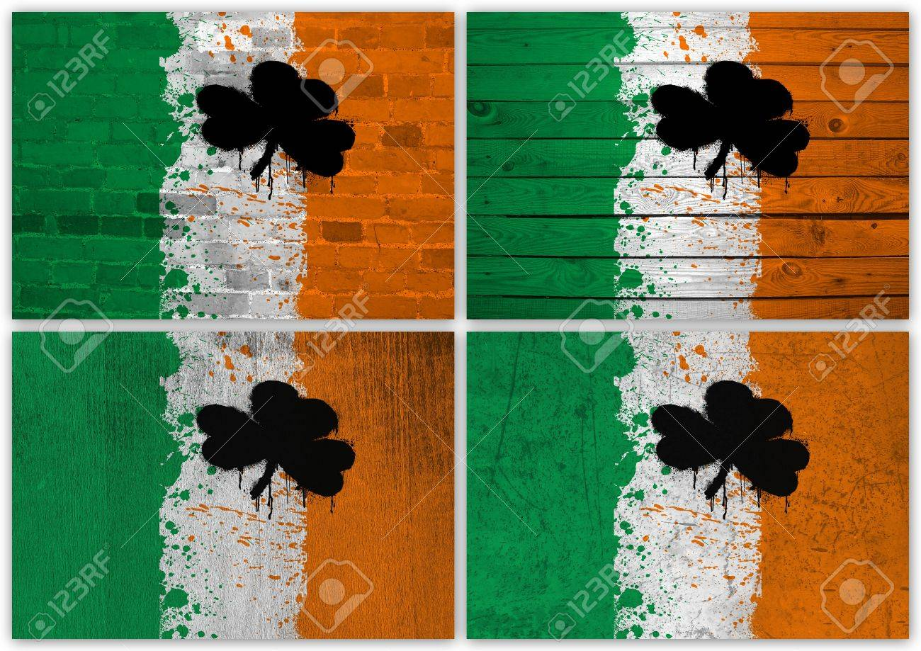 Collage of Irish flag with different texture backgrounds Stock Photo - 14977695