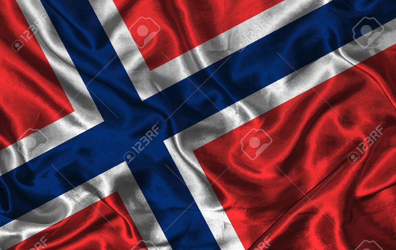 waving colorful norwegian flag on a silk background stock photo