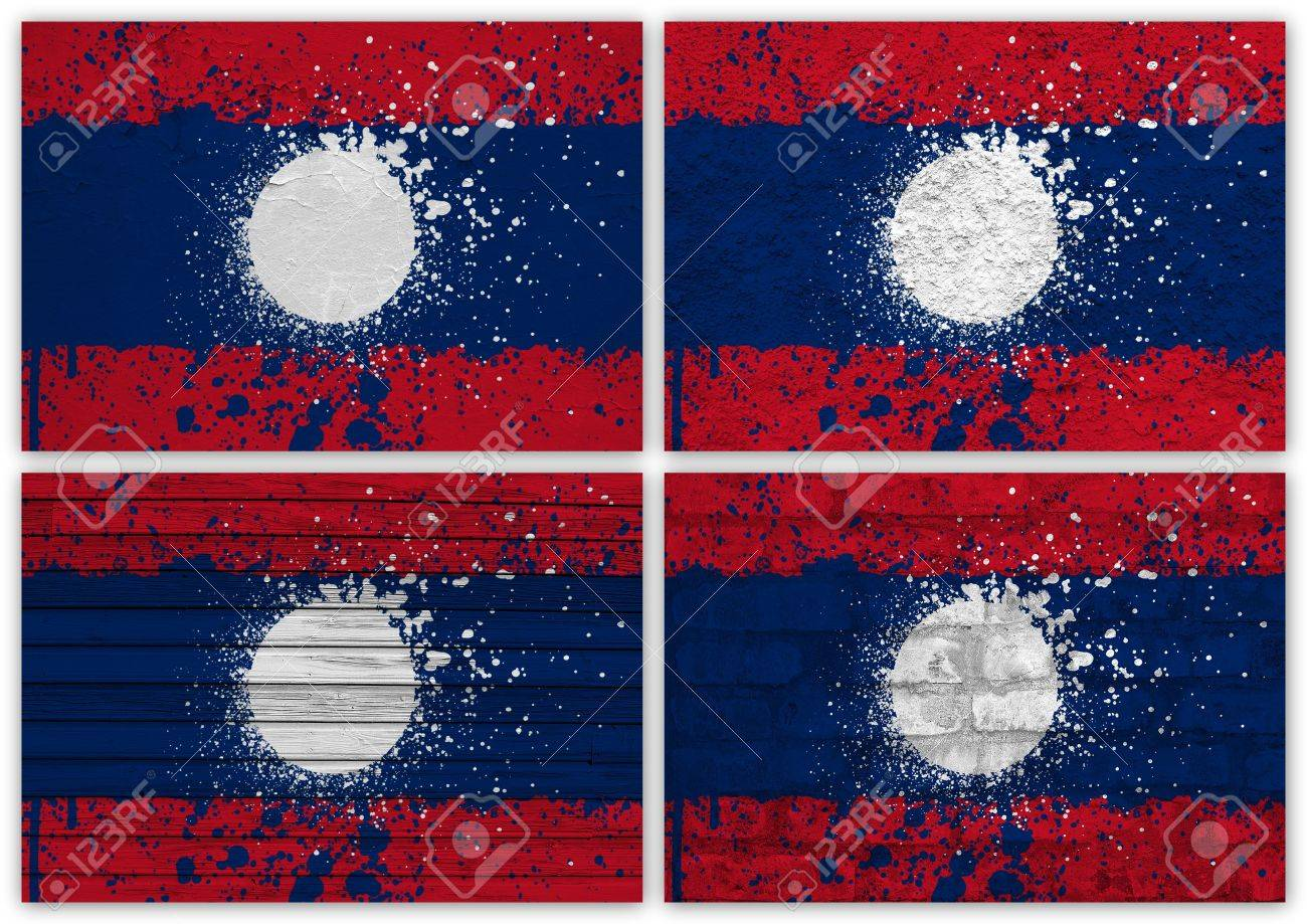 Collage of Laos flag with different texture backgrounds Stock Photo - 15923831