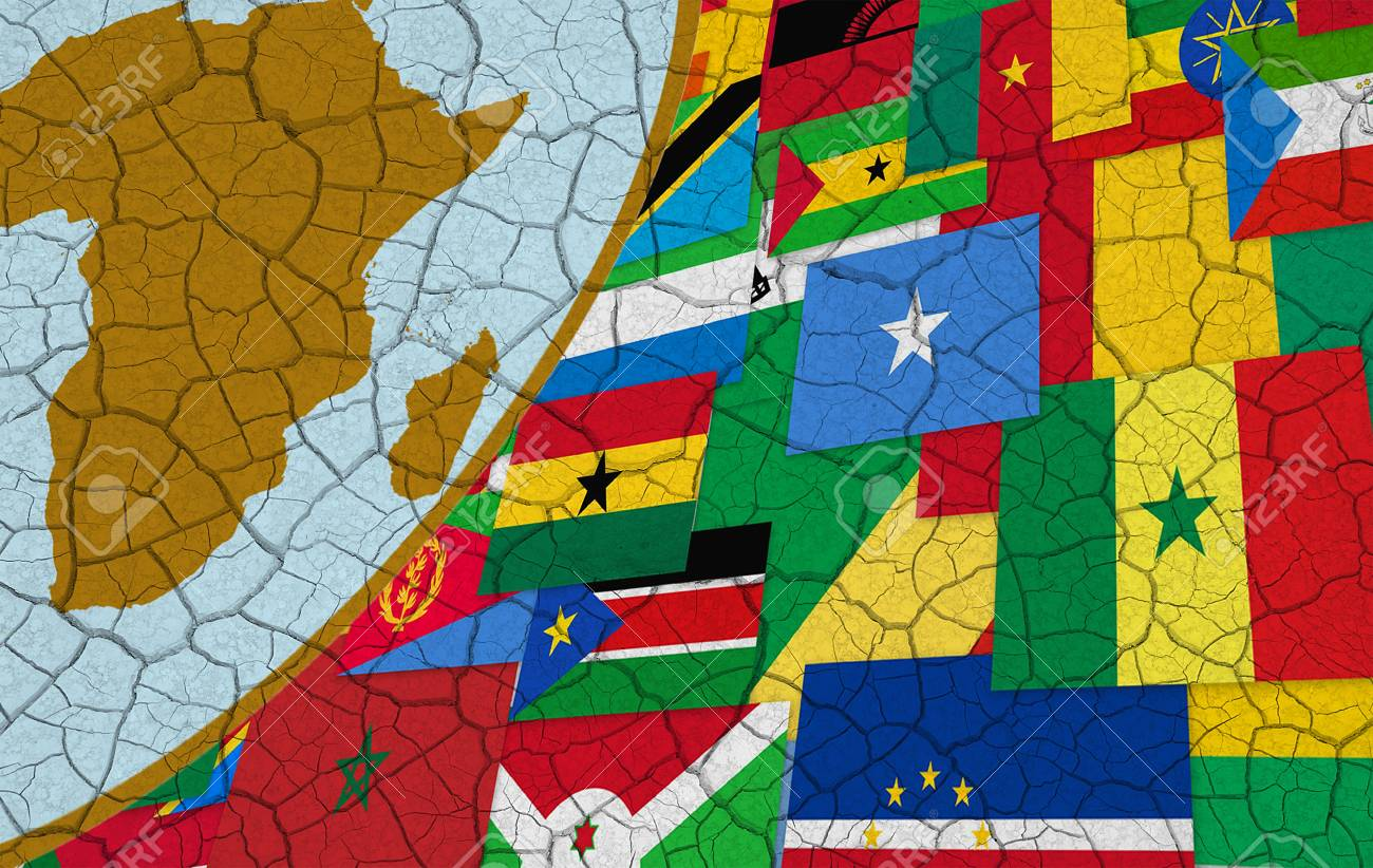 Map Of Africa And African Flags On Dry Cracked Background Stock Photo    16354303