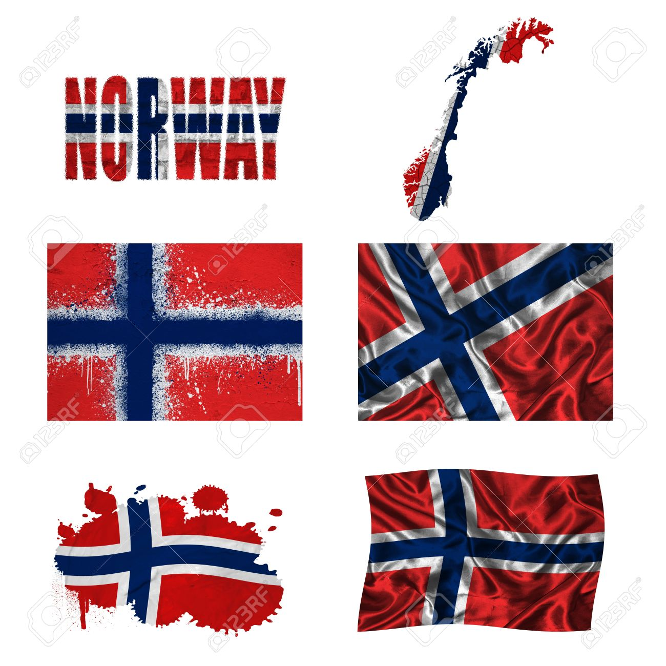 Norway Flag And Map In Different Styles In Different Textures - Norway map and flag