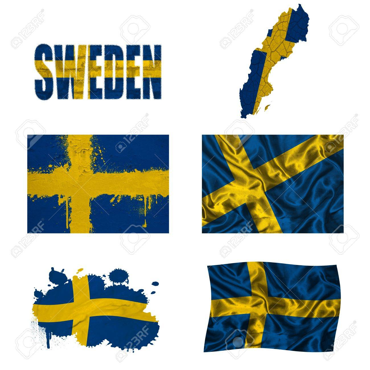 Sweden Flag And Map In Different Styles In Different Textures - Sweden map flag