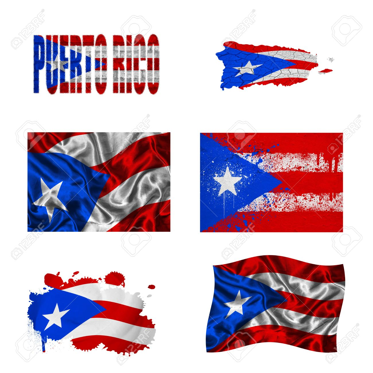 Puerto Rico Flag And Map In Different Styles In Different Textures Stock Photo 17069103