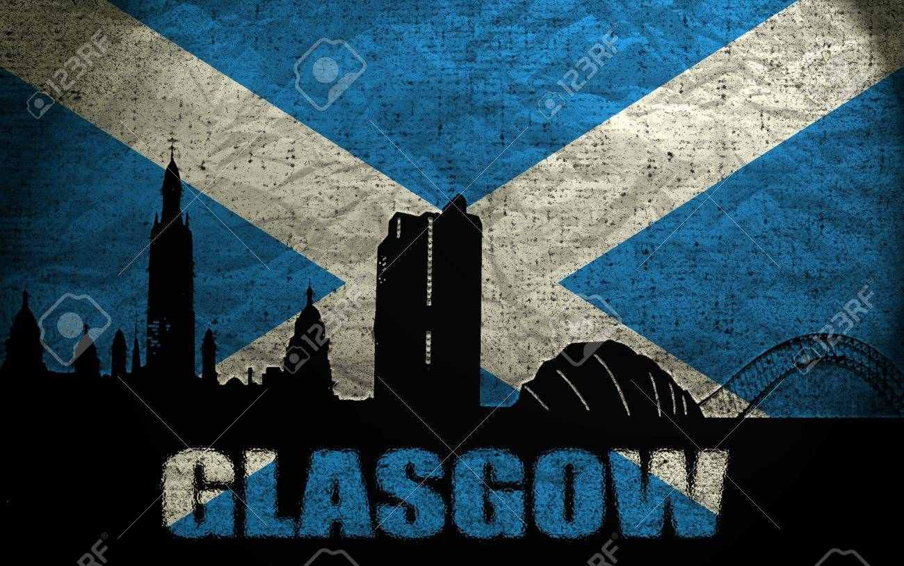view of glasgow on the grunge scottish flag stock photo picture