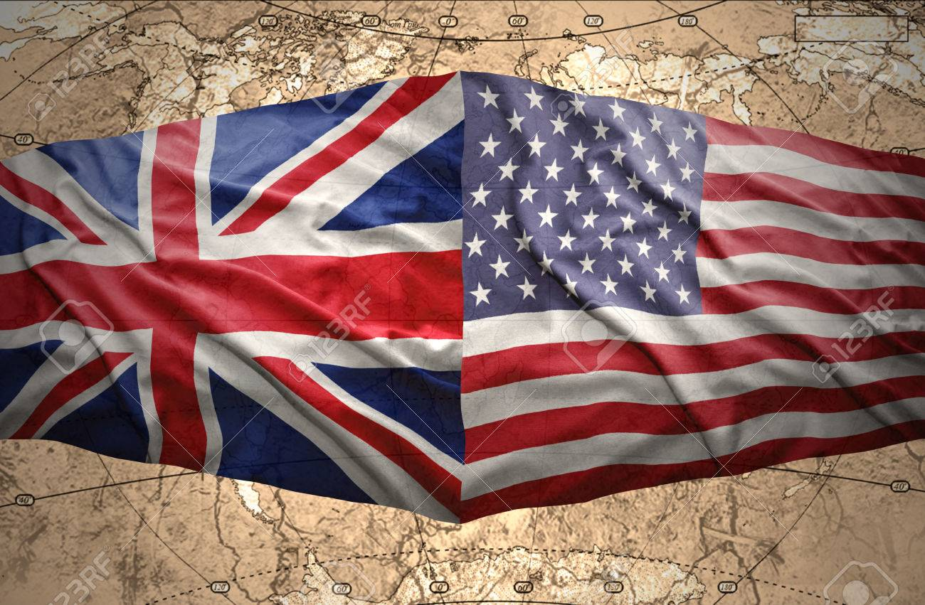 Waving United States Of America And British Flags On The - Us map drawn by brits