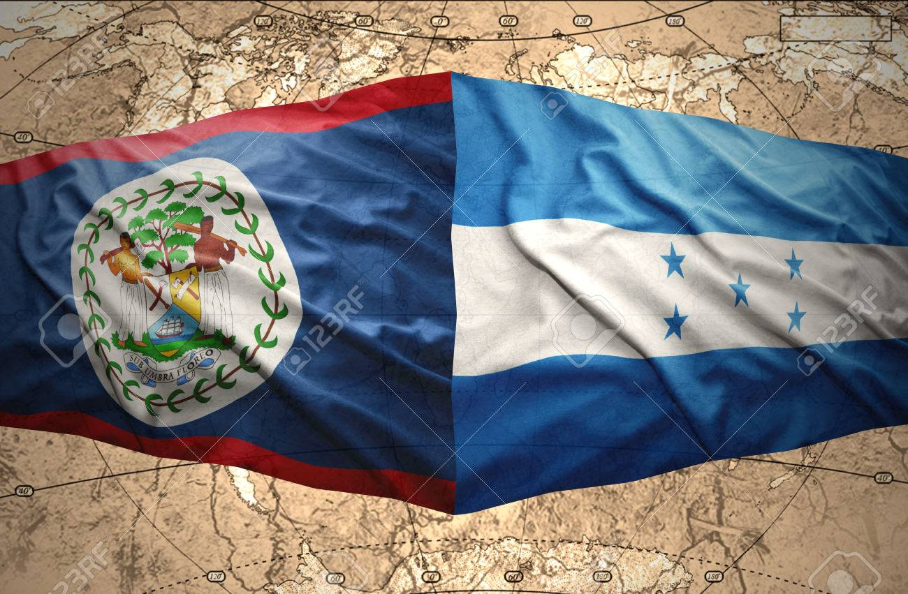 Waving Honduran And Belize Flags On The Of The Political Map.. Stock ...