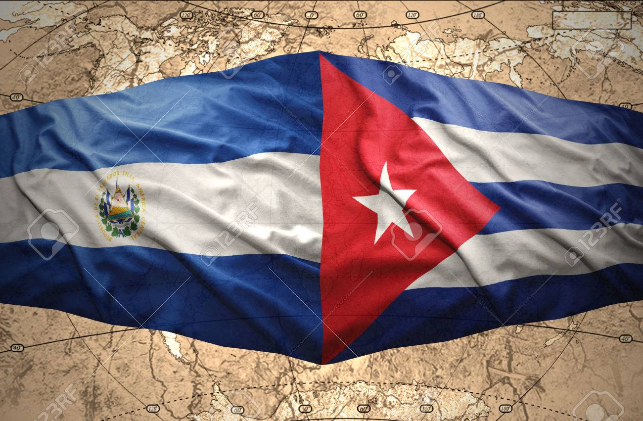 Stock Photo  Waving El Salvador And Cuban Flags On The Of The Political Map  Of The World